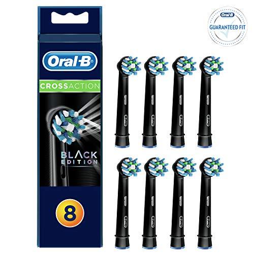 Oral-B Testine di Ricambio CrossAction per Spazzolino Elettrico Ricaricabile, Nero, Confezione da 8, Versione Vecchia