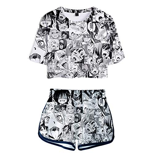 2 Piece Anime Outfits for Women Short Sleeve Crop Top and Short Pants Sets