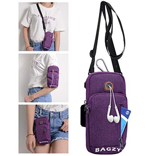 BAGZY Sport Armtasche Armbänder Reisepass Flug Flugticket Tasche Crossbody Schultertasche Sport-Armband Hülle Laufen Handytasche Reise Brieftasche Geldgürtel Hüfttasche für iPhone XR X 6s Plus Lila