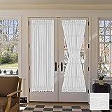H.VERSAILTEX Linen French Door Curtains Privacy Light Reducing Door Curtain with Tieback | Rod Pocket Curtain 2 Panels for Glass Door Feature Open Weave Textured Linen - 52'x72' - White
