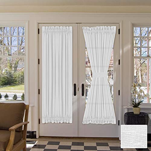 "H.VERSAILTEX Linen French Door Curtains Privacy Light Reducing Door Curtain with Tieback | Rod Pocket Curtain 1 Panel for Glass Door Feature Open Weave Textured Linen - 52""x72"" - White"