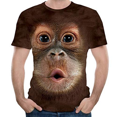 ZEZKT Männer 3D Druck Affengesicht T-Shirts Tops Männer Frühling Sommer 3D Print Oansatz Kurzarm T-Shirt Tops Bluse S-3XL