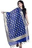 Chandrakala Women's Handwoven Blue Zari Work Banarasi Dupatta Stole Scarf,Free Size (D125BLU)