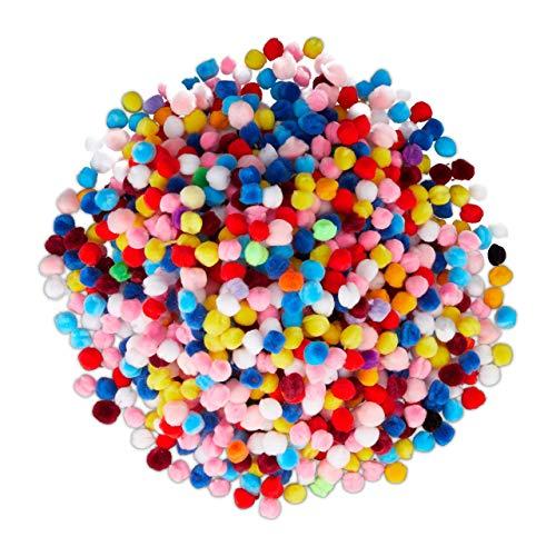 Relaxdays Pompons, kleine Bommeln zum Basteln, 1000er Mini Pom Set, Deko für Geburtstag & Hochzeit, D: 1 cm, bunt, Pack