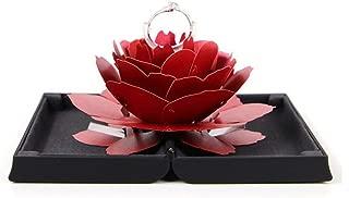 Wyenliz Ring Box 3D Pop Up Rose Ring Holder Ceremony Engagement Wedding Ring Box Uncommon Jewelry Gift (Black)