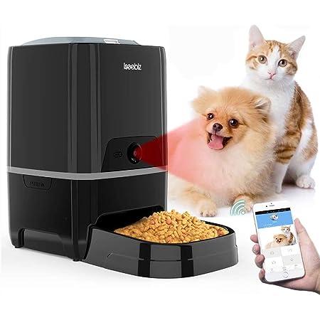 カメラ付き 自動給餌器 猫 犬 スマホで遠隔操作 自動餌やり機 5L 1日6食まで タイマー式 録音 水洗い可能 スマホ連動型 見守りカメラ 自動餌やり器 オートペットフィーダー iOS Android対応 日本語対応アプリ 日本語説明書付 Iseebiz