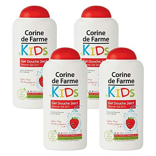 Corine de Farme | Gel Douche Kids | 2en1 Corps & Cheveux | Parfum Fraise | Fabrication Française | Lot de 4