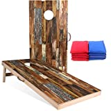 Sportdo Solid Wood Vintage Cornhole Set - Two 4'x2'Cornhole Boards, 8 Cornhole Bags, Perfect for Indoor and Outdoor Toss Games, Friends Competition,Tournaments