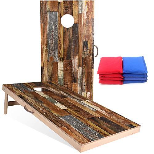 Sportdo Solid Wood Vintage Cornhole Set - Two 4'x2'Cornhole Boards, 8...