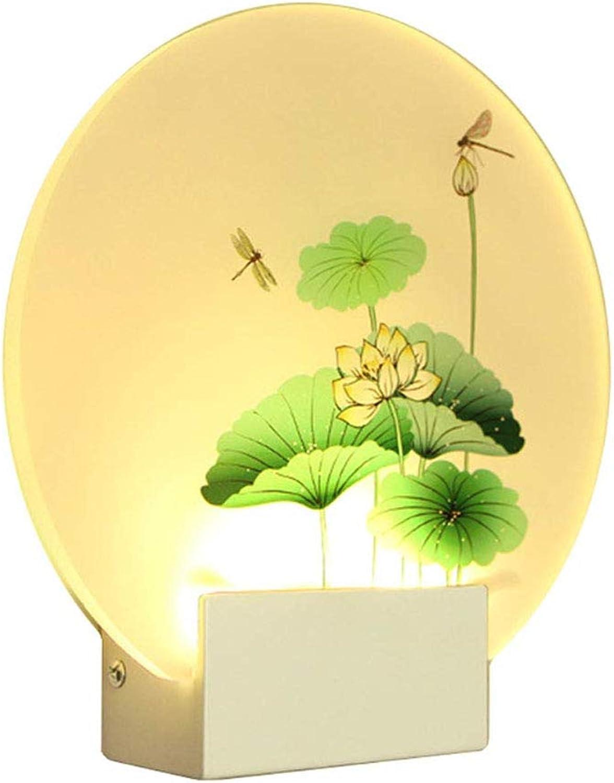 Wandleuchte Kreative Schlafzimmer Runde Nachttischlampe LED Einfache Wohnzimmer Gang Acryl Kunstwand Lampe Zwei Farbe Mit Schalter 6 Watt,Lotus