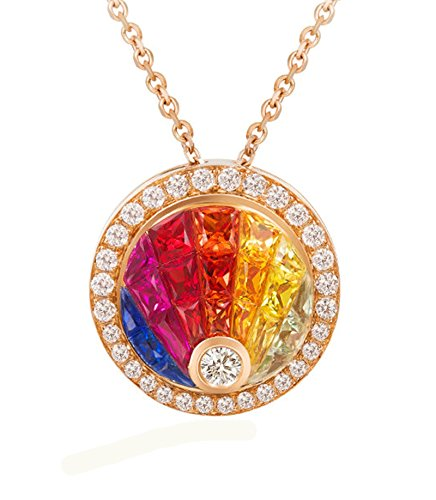Epinki 18K Gold Women Colorful Natural Gemstone Diamond Necklace Rose Gold Chain Length 40+5CM