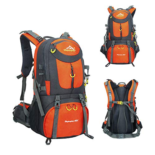 MYMM 40/50/60L Hiking Camping Backpack for Mountain Climbing, Outdoor Hiking, Camping, Travel, High Capacity Lightweight Tear Water Resistant, Rucksack Luggage Bag for Men Women (Orange, 50 L)
