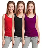 Fashion Line Cotton Lycra Tank Top for Girls/Women (Red, Black, Purple - Pack of 3)