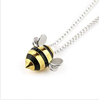 FKone S925 Sterling Silver Hypoallergenic Exquisite Cute Bee Pendant Necklace for Lady Women Teen Lover