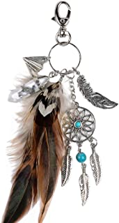 BIGBOBA European and American Popular Natural Turquoise Alloy Dream Catcher Feather Key Ring Accessories for Friend Women Girls