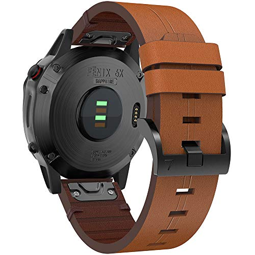 YASPARK Correa Fenix 6X/5X Plus, 26mm Pulsera Piel Reemplazo Correa de LiberacióN RáPida para Fenix 6X/6X Pro/5X/5X Plus/3/3 HR/Descent Mk1 Smartwatch