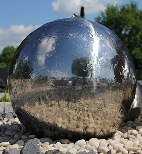 Kugelbrunnen 50 cm incl. LED Gartenbrunnen Wasserspiel Edelstahl poliert