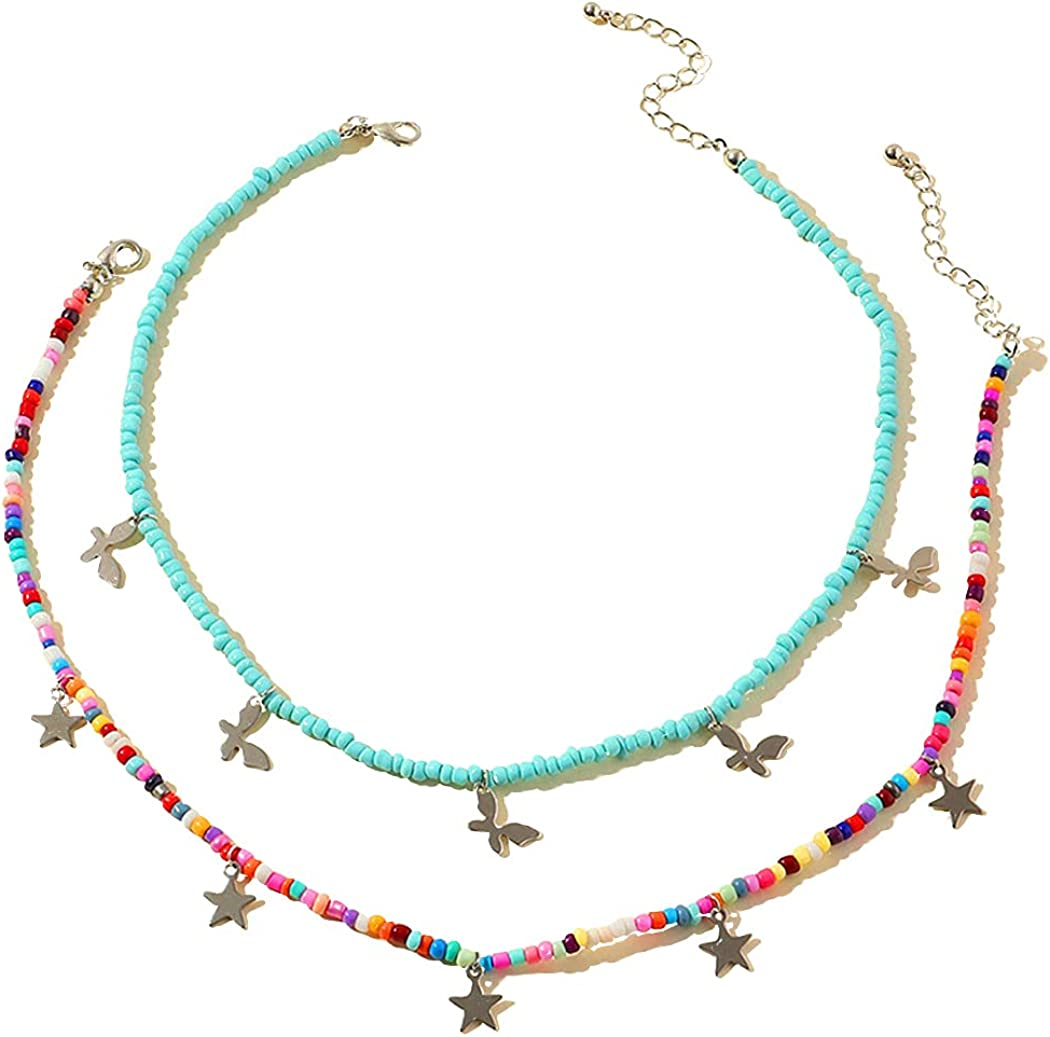 Sillaget Boho Pearl Beads Charm Necklace Rainbow Colorful Seed Bead Pastel Half Pearl Half Chain Necklaces Y2k Fashion Glass Beaded Jewelry for Women and Teen Girls