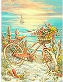 Kit de Pintura de Diamantes bksptop5D DIY, Bordado de Diamantes de imitación Redondo de Diamantes Completo, Utilizado para la decoración de la Pared del hogar, Bicicleta de Playa 40X50cm
