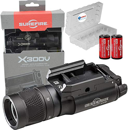 SureFire X300V White and IR Output LED Handgun Long Gun WeaponLight with 2 Extra CR123A Batteries and Lightjunction Battery Case