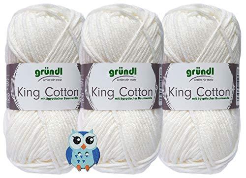 3x50g Gründl King Cotton Häkelgarn Strickgarn inkl. 1 Holz Eulenknopf (Weiß 01)