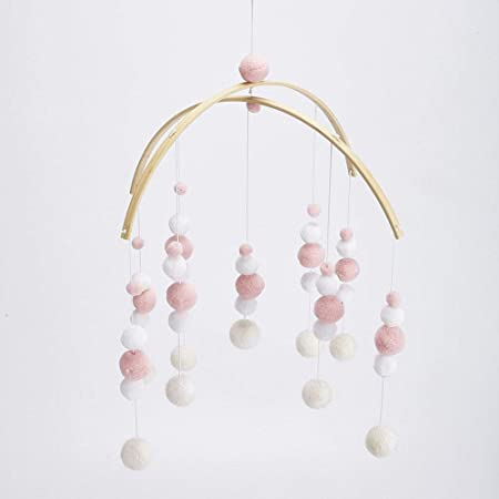 Bedroom Crib Cotton Strings Shower Gifts for Infants 100/% Natural New Zealand Wool Colored Felt Hanging Decor /& Toy Soother for Nursery Glaciart One Felt Balls Baby Mobile Handmade in Nepal