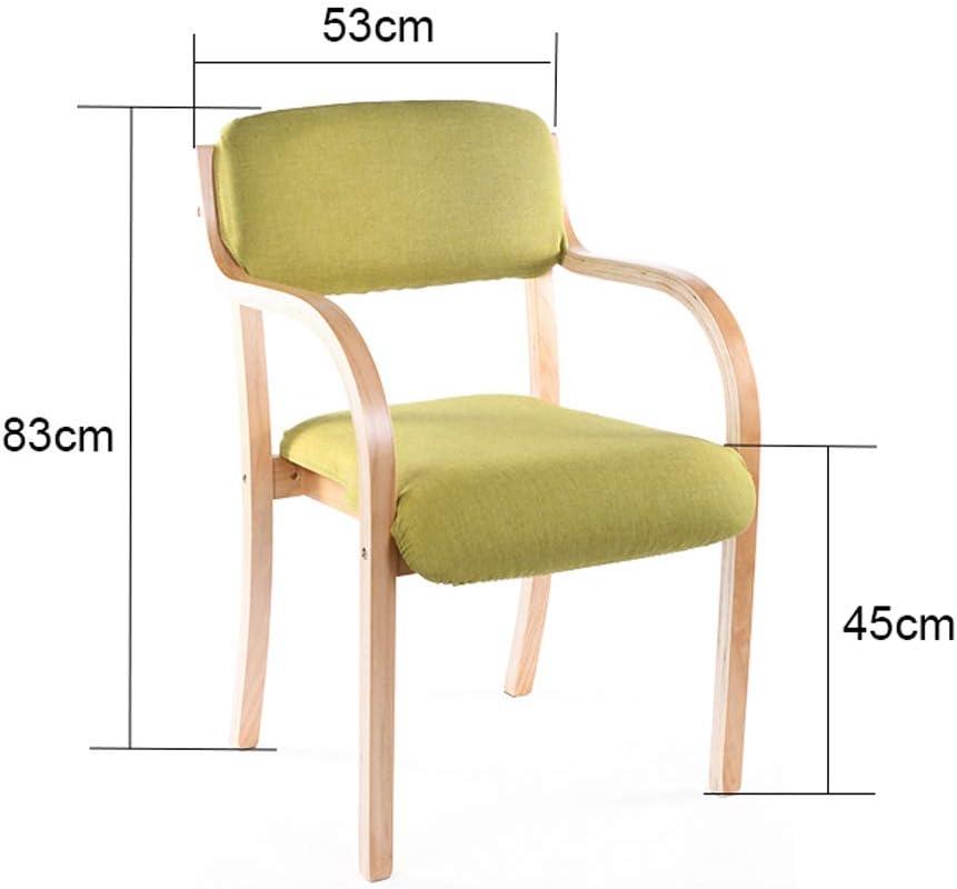 MXD Chaise dinant la Chaise Simple Simple Chaise de Bureau accoudoir Chaise Ordinateur Chaise créative Chaise en Bois Vert Coussin (Color : Brown) Wood Color