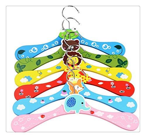 LdSJj 12pcs / Lot de los nuevos niños Lindos de la Historieta Animales de Madera Percha de Ropa niños del bebé de suspensión 6 Estilos al por Mayor