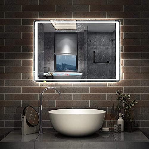 AICA sanitaire Miroir de Salle de Bain 80x60cm Anti-buée Miroir Mural avec éclairage LED modèle Classique Plus 2.0
