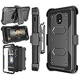 Njjex Galaxy J3 Orbit Case, For Samsung J3 2018/J3 Eclipse 2/J3 Achieve/Express Prime 3/Amp Prime 3/J3 Prime 2/J3 Emerge/J3 V 3rd Gen/J3 Aura/J3 Star Case, Holster Swivel Belt Clip Phone Cover - Black