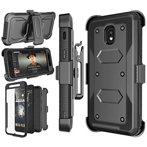 Njjex Galaxy J7 Refine Case, for Samsung J7 2018/J7 Star/J7 V 2nd/J7 Aura/J7 Top/J7 Crown/J7 Eon/J7 Aero Case, [Nbeck] Built-in Screen Protector Swivel Holster Belt Clip Kickstand Phone Cover - Black