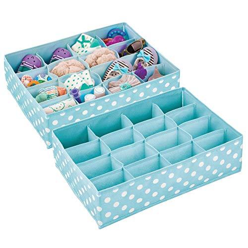 mDesign Juego de 2 cajas para ordenar el cuarto infantil – Organizador de tela a lunares para guardar ropa y ahorrar espacio – Separador de cajones con 16 compartimentos para cosas de bebé – turquesa