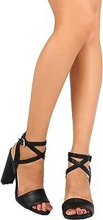 Women Leatherette Single Band Criss Cross Ankle Strap Chunky Heel Sandal FB69 - Black