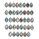 PandaHall 50 stücke Mix Bild Kreuz Jesus Unserer Lieben Frau Jungfrau Wunderbare Medaille Blumen Rosenkranz Herz Anhänger Charme (Haushaltswaren)