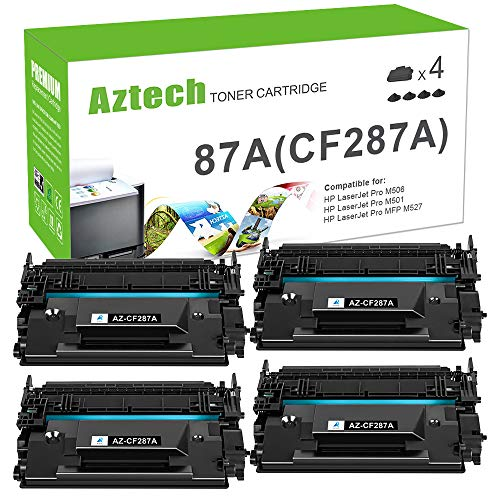 Aztech Compatible Toner Cartridge Replacement for HP 87A CF287A 87X CF287X HP Laserjet Enterprise M506 M506dn M506n M506x HP Laserjet Pro M501 M501dn M527 M527dn (Black, 4-Pack)