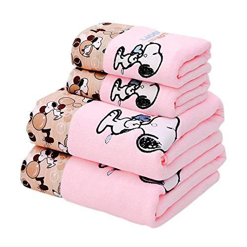 LUPAZKM 1 Badetuch 1 Handtuch Cartoon Snoopy Gedruckt Mikrofaser Stickerei Cartoon Super Weich Und Saugfähig Rosa 70 * 140 cm