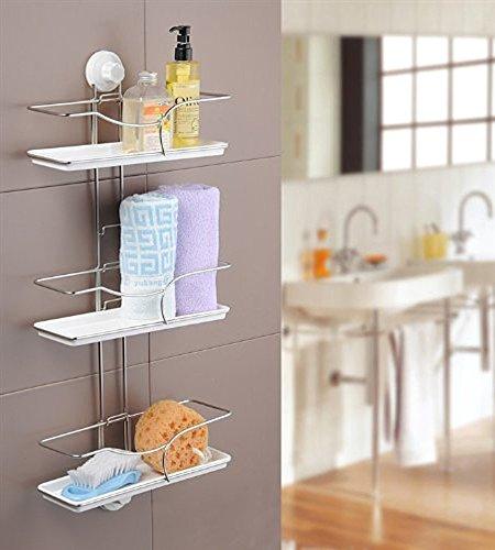 FunkyBuys reg; - Mensola per doccia, da appendere, 3 ripiani, in acciaio INOX, colore: bianco (SI-088)
