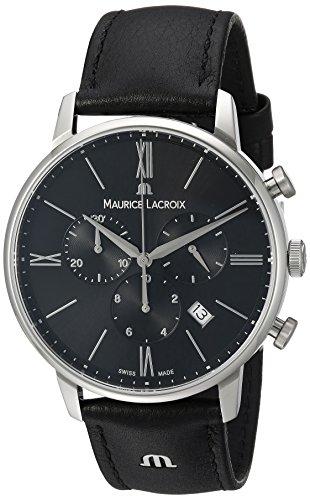 Maurice Lacroix Männern Eliros 'Quarz Edelstahl und Leder Casual Uhr, Farbe: Schwarz (Modell: el1098-ss001–310–1)