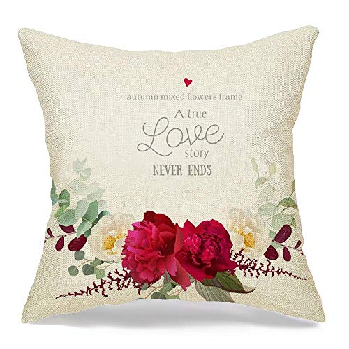 Starofeb Throw Pillow Cover Burgundy Elegant Autumn Floral Bouquet Red Fall Nature Wedding Peony White Garland Blossom Vintage Modern Linen Decorative Pillow Cushion Case Home Decor 18 x 18 Inch