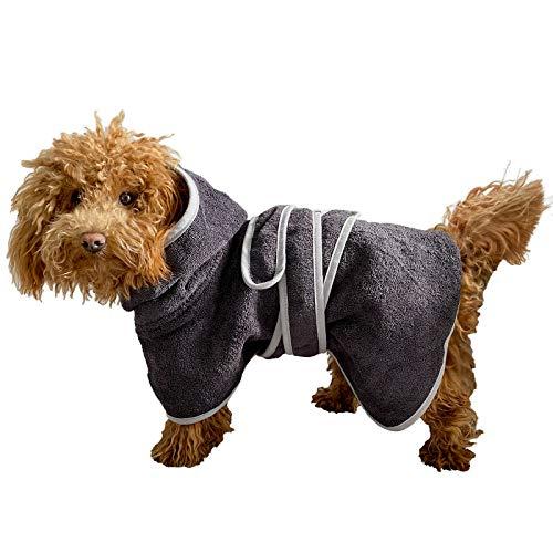 HOMELEVEL Hunde Bademantel aus 100% Baumwolle für Weibchen und Männchen schnell trocknend Hund Bademantel Handtuch Anthrazit/Grau XS