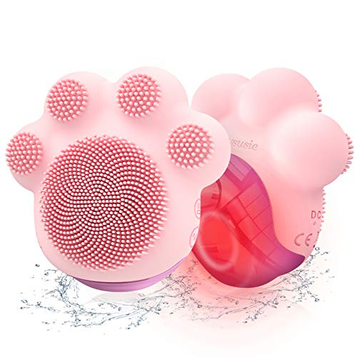 MelodySusie Facial Cleansing Brush, Waterproof Electric CAT PAW Face Brush Device with Sonic Silicone Vibration to Cleanse, Exfoliate, Lift Your Skin, Heat Massager for Skincare Absorption