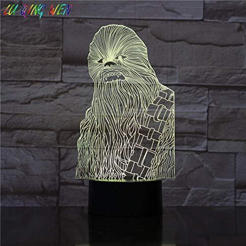 Lámpara de ilusión 3D Luz de noche Led Star Wars Chew108A Sensor táctil Decoración de dormitorio Lámpara de mesa Chewie para niños Star Wars