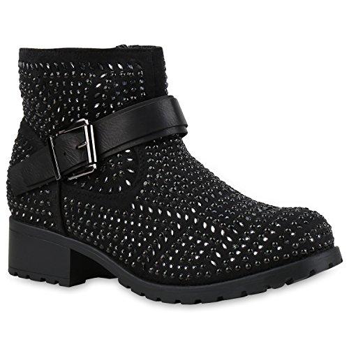 Chelsea Boots Damen Plateau Stiefeletten Profilsohle Schuhe 121769 Schwarz Strass 40 Flandell