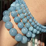 """Cuentas de piedra azul calcedonia natural aguamarinas para hacer joyas cuentas redondas de jades accesorios de pulsera Diy 4/6/8/10 / 12mm 15 """""""