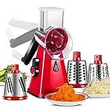 Rallador De Queso,Rallador Verduras con 3 Cuchillas De Tambor Rallador Cocina De Corte Más Rápido Y Fácil Cortadora De Verduras Ideal para Queso Pepino Zanahoria Etc,Rojo