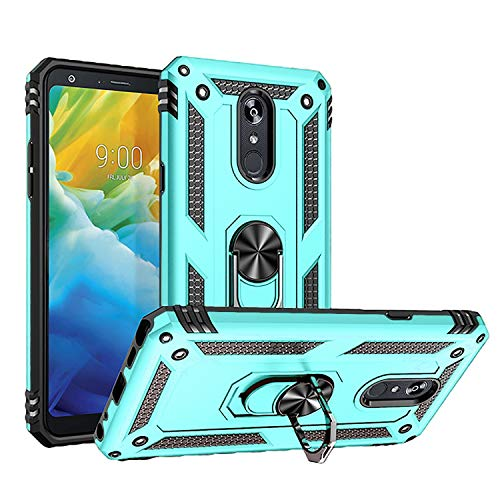 Newseego Compatible with LG Stylo 5 Case, Armor Dual Layer 2 in 1 and 360 Degree Rotating Metal Ring Holder Kickstand & Support Shockproof Hard Cover - Azure