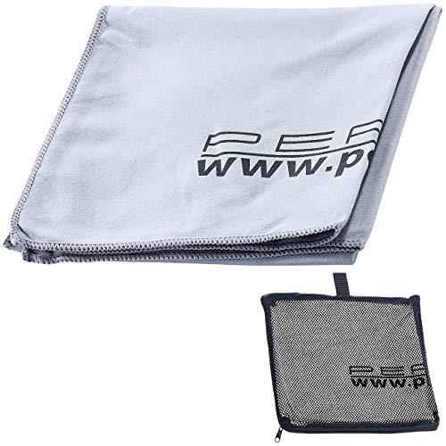 PEARL Tücher: Extra saugfähiges Mikrofaser-Handtuch, 80 x 40 cm, grau (Microfaser Handtuch Outdoor)