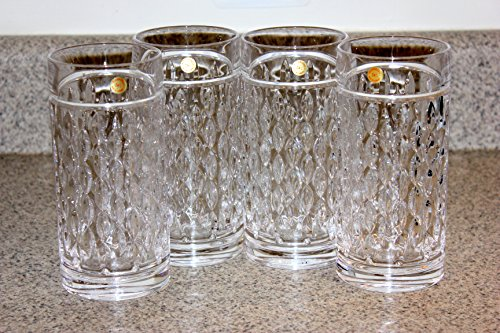 Lauren by Ralph Lauren Designer Barware Aston Highball Crystal Glasses Set of 4 Tall 13.5 Ounces Made In Germany
