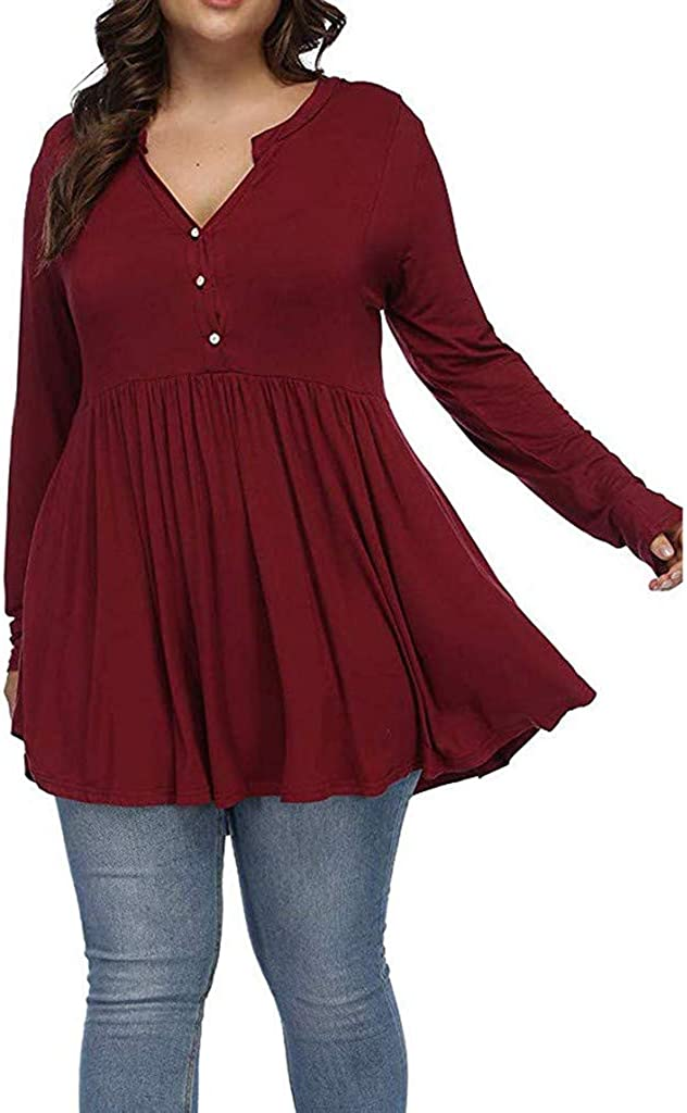 Misaky Women's Plus OFFicial site Size Tunic Discount mail order Henley V Long Sl Neck Tops Button