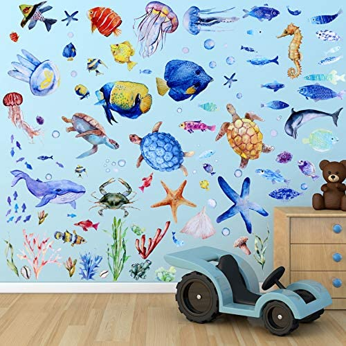 116 Pieces Under The Sea Wall Decals Jellyfish Wall Stickers Fish Ocean Wall Stickers Removable product image